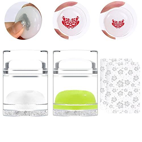 EBANKU 2 Stück Jelly Silikon Nagelstempel,Doppelend Transparenter Marshmallow Stempel & Schaber, Nagel Stempel mit 2 Stück Schaber