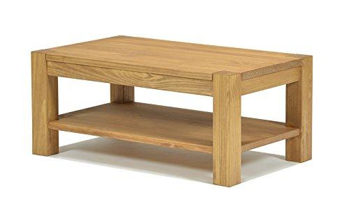 Naturholzmöbel Seidel Couchtisch Beistelltisch mit Ablage Rio Bonito 100x70cm, Höhe 60 cm, Pinie Massivholz, geölt und gewachst, Wohnzimmer Tisch Farbton Honig hell