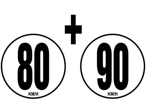 SAFIRMES Sticker 20cm Limitation de Vitesse Autocars Tracteur Poids Lourds 80+90 KM/H adhésif.