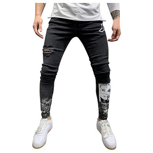 MOTOCO Skinny Jeans Herren Distressed-Look mittelhoher Bund Stretch Denim Pants Jeanshose für Männer(S.Schwarz)