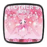 Perillas de gabinete,tiradores,paquete de 4,perilla de cocina,tocador,cajón,puerta,Feliz día de la madre rosa flamenco amor flores ,Cristal cuadrado