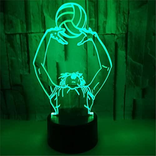 SLJZD luz de noche Patrón De Voleibol Luz De Noche Led 3D Colorida Para Decoración De Dormitorio Lámpara De Mesa Led De 7 Colores Regalo De Vacaciones Para Niños Con Control Remoto