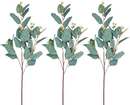 AIVORIUY 3pcs Ramo de Eucalipto Artificial Planta, Hojas de Eucalipto Arbustos Spray con Tallos Ramas de Plantas Eucalipto en Verde Gris para la Decoración de Bodas Fiesta Casas Cocina Jardín Jarrón