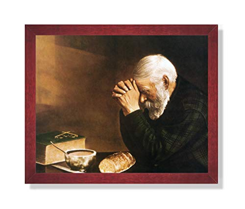 Art Prints Inc Daily Bread Man Praying at Dinner Table Grace Religious Wall Picture (16x20, Cherry Frame)