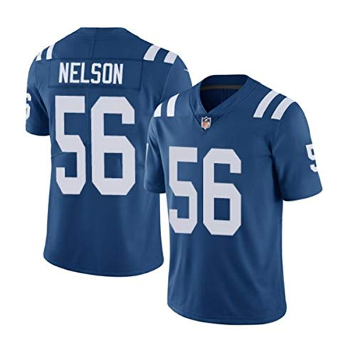 Quenton Nelson # 56 Indianapolis Colts Herren Rugby Jersey Fußballtrikot, Stickerei Kurzarm Sport Unisex Fans Trikots Atmungsaktives T-Shirt Wiederholbare Reinigung-Blue-S(160
