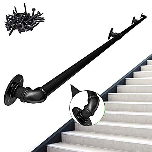 ZCFXGHH Möbel Treppenhandlauf Treppengeländer Industrie Treppenhandlauf   Wand Wasserleitungen Terrassengeländer   Sicherheits-Anti-Rutsch-Türgriff   Handtuchhalter   Schwarz,10ft/300cm