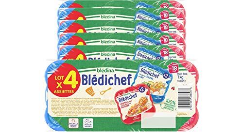 Blédichef de Blédina - 24 Assiettes dès 18 Mois, 2 Recettes - Légumes du Soleil/Volaille à la Basquaise et Fondue de Légumes/Lieu