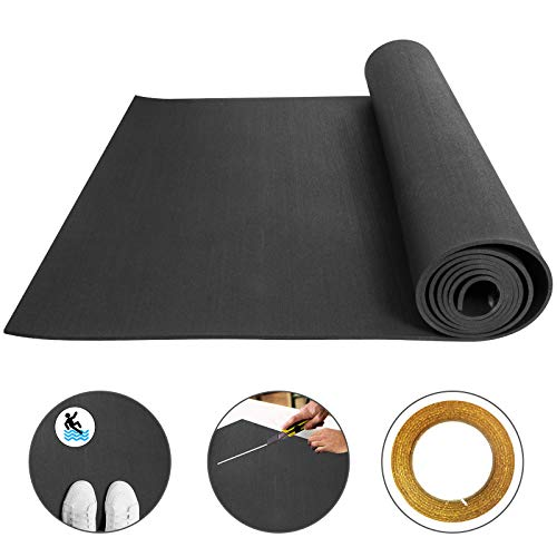 Hopopular 9.5mm thick Black Rubber Flooring Rolls 6.2ft length 3.6ft width Rubber Flooring Mat Anti Slip Shed Rubber Sheet Roll 10% EPDM Rubber Gym Mat Home Floor Protection