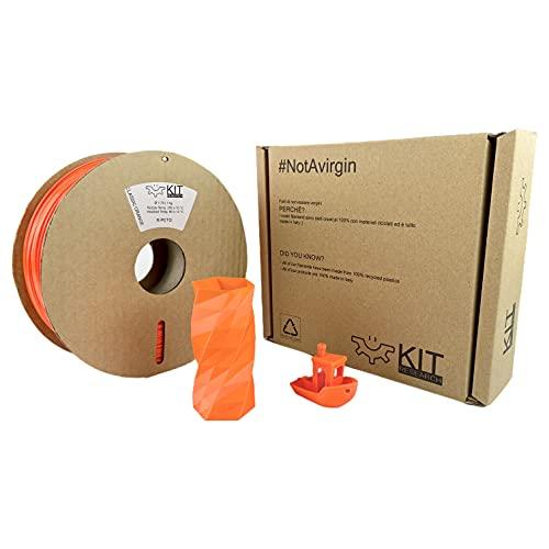 ORIGINAL KIT R-PETG, Filamento per stampanti 3D, in PETG, 1,75 mm, 1 kg bobina, 100% Riciclato, ARANCIONE