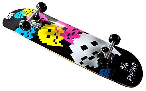 PiNAO Sports - Skateboard Nalu mit Arcade-Design für Kinder, Jugendliche & Erwachsene, Einsteiger-Skateboard (11023) [7-schichtiges Ahornholz, Aluminium-Trucks mit Riser-Pad, High Rebound Rollen,