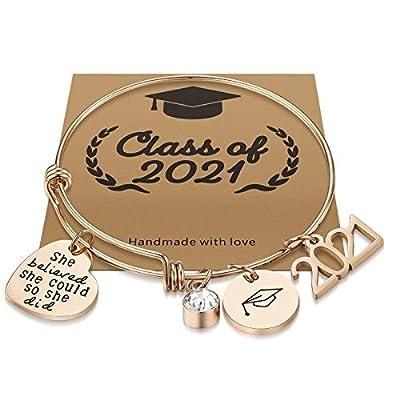 Graduation Gifts for Her 2021 College High School Graduation Gifts,She Believed She Could So She Did Inspirational Graduation Bracelet for Sister Friends(She Believed she Could so she did Rose Gold)