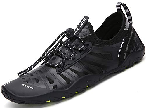 Saguaro Herren Damen Halbschuhe Schuhe zum Tauchen Schwimmen für Strand Surfen Yoga Wassersport, Schwarz - Surf Nero - Größe: 42 EU