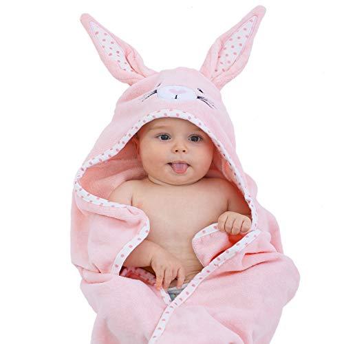 TBEZY Cape de Bain Bébé à Capuche, Coton Sortie de Bain Bébé avec Design Animal, Drap Serviette de Bain pour Bébé Nouveau-né (Lapin)
