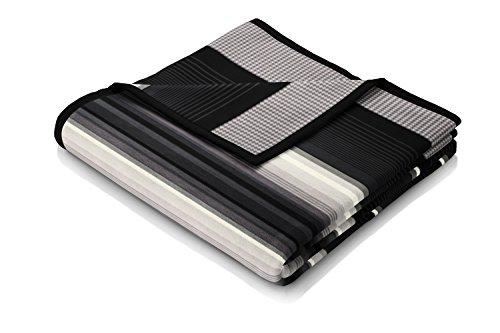 Biederlack Wohn- und Kuscheldecke, 60 % Baumwolle, Veloursband-Einfassung, 150 x 200 cm, Schwarz, Orion Cotton Covered in Black, 647832