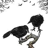 YFT 2 Piezas Halloween Crow,Modelo de Cuervo de Halloween,Adorno de Cuervo de Halloween, para jardín, hogar, Fiesta de Halloween, decoración de casa embrujada.