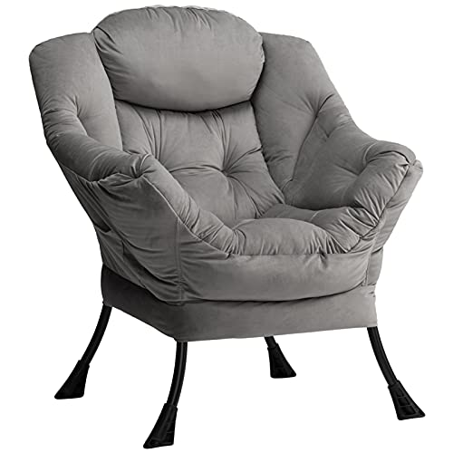 HollyHOME Relaxsessel Sessel mit Stahlrahmen, Relaxliege Freizeitsofa Chaiselongue Fauler Stuhl Relax Loungesessel mit Armlehnen, Samtstoff, Dunkelgrau
