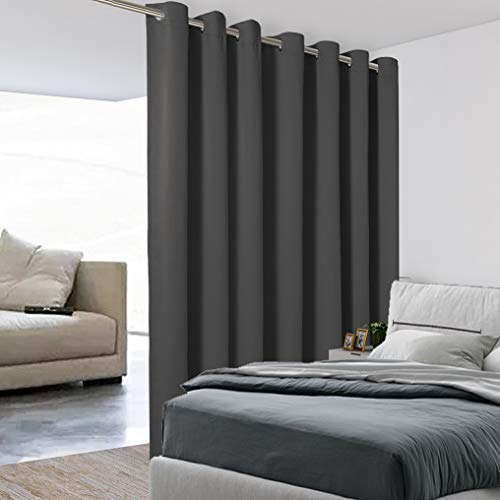 BONZER Extra Wide Room Divider Curtain Total Privacy Wall Grommet Top Thermal Insulated Blackout Curtains for Slide Window, 10ft Wide x 9ft Tall, 1 Panel, Dark Grey