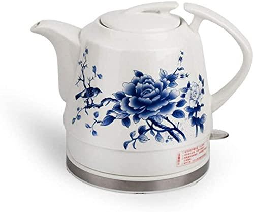 Práctica tetera eléctrica eléctrica de cerámica inalámbrica, estilo retro, 1 2 L, 1000 W, agua rápida para té, café, sopa de avena, base extraíble, protección en seco, seguridad/A-A