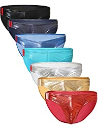 Mens faux leather bikini panties in several colors.
