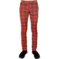 "Run & Fly Tartan Plaid Checked Stretch Men's Skinny Jeans Red Waist 34"""