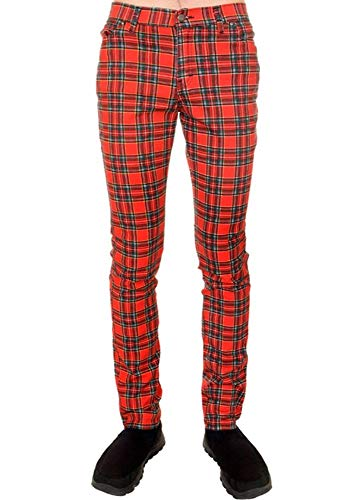 Run & Fly Tartan Plaid Checked Stretch Men's Skinny Jeans Red Waist 32