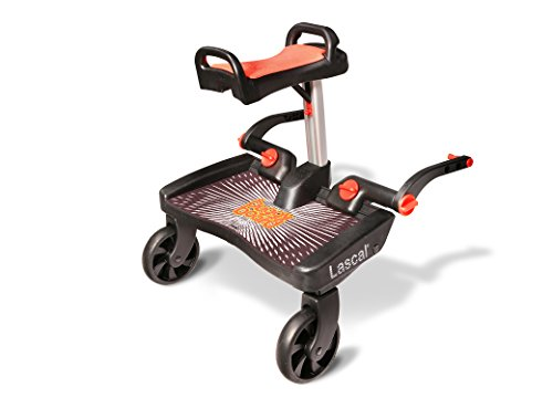 Lascal BuggyBoard Maxi+, Black with Red Saddle, Universal Ride-On Stroller Board with Built-in Saddle, Fits More Strollers Than Any Other Using The Patented Universal Adapter, Holds Up to 66 lbs.