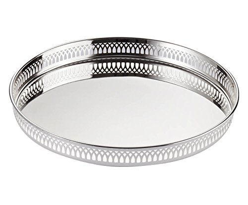 EDZARD Silbertablett Delphi, edel versilbertes Serviertablett, rundes Tablett mit einem Durchmesser von 30cm (perfekt für die Kommode, den Beistelltisch oder den Nachttisch)