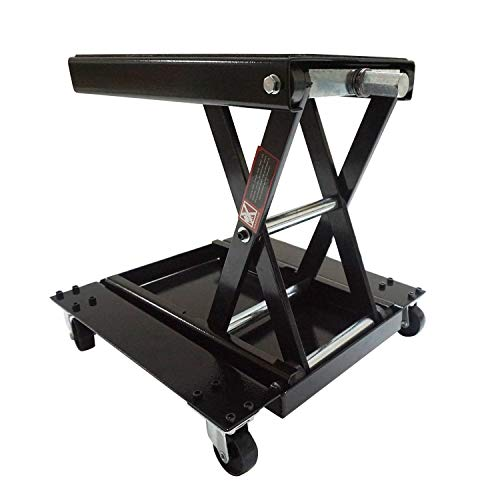 Apextreme 1100 LB Motorcycle Lift Center Scissor Lift Jack with Dolly Wide Flat Hoist Stand Bikes ATVs Garage Repair Stand