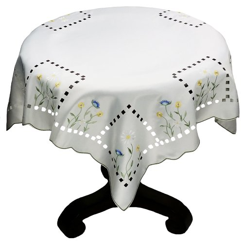 Xia Home Fashions Spring Field Embroidered Cutwork Table Topper, 36-Inch by 36-Inch
