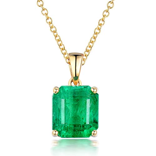 Aartoil 18k yellow gold Pendant Necklace for Women Square Pendant Valentine's Day Birthday Gift with Silver Chain(Main Stone: 2.5ct emerald)