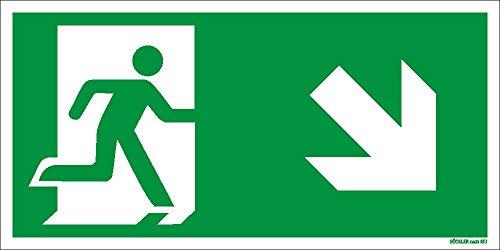Notausgang Schild ISO 7010 gem. ASR A1.3, in 300x150 mm Folie Nachleuchtend selbstklebend, rechts-abwärts-Flucht-Rettungswegzeichen