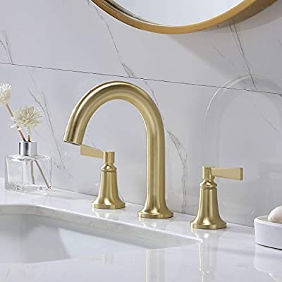 VCCUCINE Modern 8 Inch 3 Holes 2 Handles Gold Widespread Bathroom Faucet, Brushed Gold Bathroom Sink Faucet with Water Hoses, Brass Gold Lavatory Vanity Sink Faucet Bath Faucet