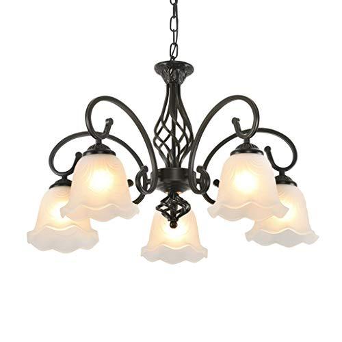 Xwyun ペンダントライト アメリカ 錬鉄製 シャンデリア 現代 LED ホーム 天井ランプ、ヨーロッパの雰囲気のリビングルーム/ダイニングルーム/ホテルの照明吊りランプ (5灯、60×70cm)