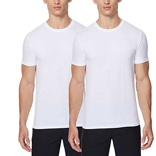32 DEGREES,Mens 2pack Short Sleeve Crew Neck Wicking Tee,White/White,Medium