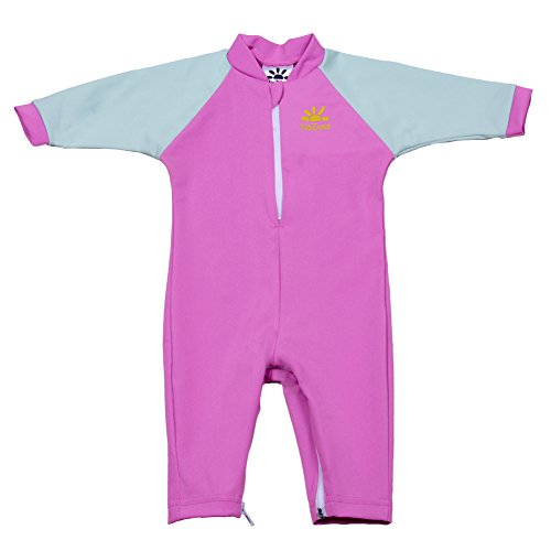Nozone Fiji Sun Protective Baby Girl Swimsuit in Blossom/Chill Blue, 0-6 Months