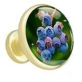 Fruit Blue Blueberry Bouton de tiroir placard Poignées de porte de meuble en or métal doré avec verre de cristal pour la commode penderie porte(paquet de 4) 3.2x3x1.7cm