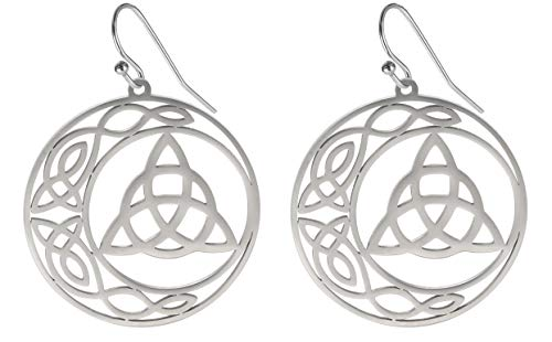 VASSAGO Stainless Steel Triquetra Celtic Knot Symbol Crescent Moon Earrings Circle Charm Drop Dangle Earring for Women Girls Jewelry Gifts (Silver)
