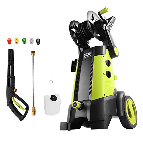 Sun Joe SPX3001 2030 PSI 1.76 GPM 14.5 AMP Electric Pressure Washer with Hose Reel, Green & SPX-25HD 25' Universal Heavy-Duty Pressure Washer Extension Hose for SPX Series, Black