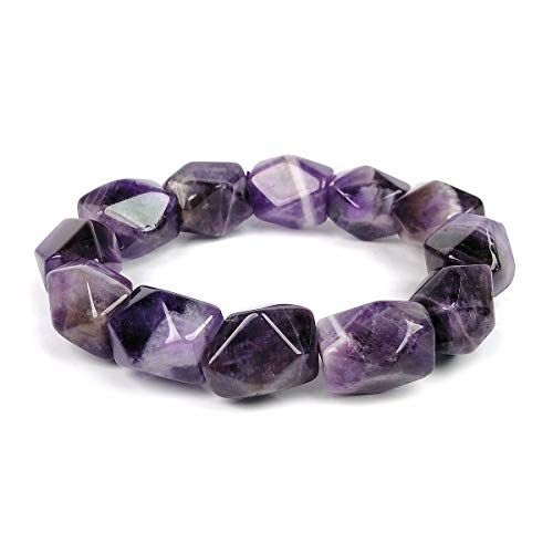 Reiki Crystal Products Natural Amethyst Crystal Stone Bracelet for Men and Women (Color : Purple)