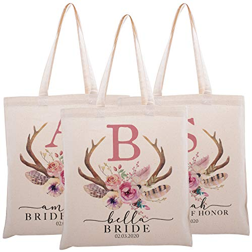 Personalized Printed Cotton Canvas Tote Bag | Custom Handbag Gift for Events | Wedding Bachelorette Baby Shower Birthday Party Christmas Bridesmaid | Vintage Antler With Initial | C1D03 | Set of 3