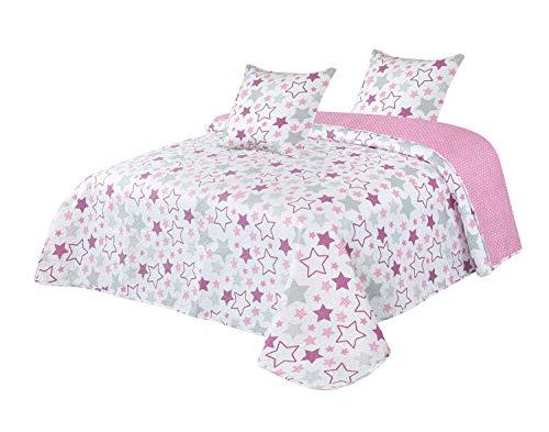 Montse Interiors S.L. - Colcha Boutí Reversible Dibujo Estrellas Rosas con Cuadrantes, Modelo Stella Rosa, para Cama de 180/200 (270x260+2 cuadrantes)