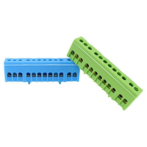 N Klemmen PE Klemme für Hutschiene Sammelklemmen 7-15 polig 16mm² fingersicher (12-Polig Blau - Grün)