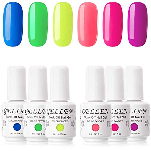 Gellen Gel Nail Polish Kit, Neon Series 6 Colors Ultra Bright Tone Rainbow Nail Gel Shades, Trends Nail Art Colors Home Gel Manicure Set