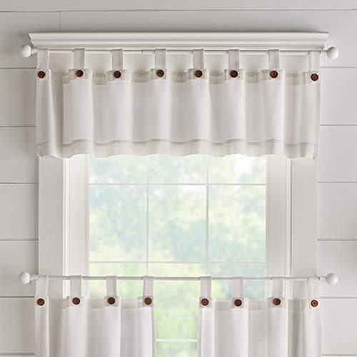 "Elrene Home Fashions Tucker Solid Button Window Curtain Kitchen Valance, 60"" W x 15"" L (1, White"
