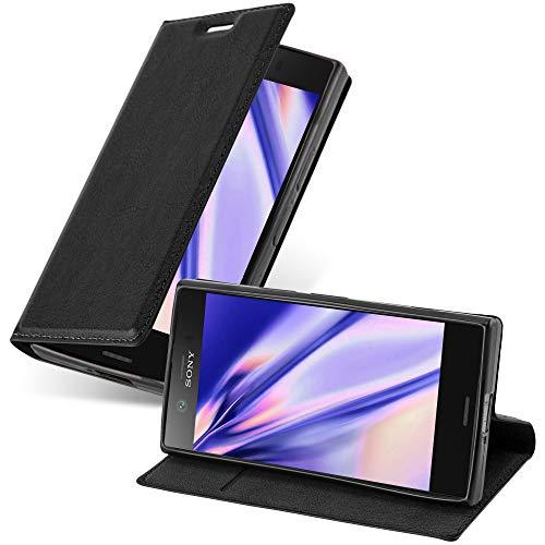 Cadorabo Hülle für Sony Xperia Z1 COMPACT in Nacht SCHWARZ - Handyhülle mit Magnetverschluss, Standfunktion & Kartenfach - Hülle Cover Schutzhülle Etui Tasche Book Klapp Style