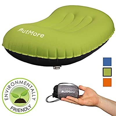 OutMore Inflatable Camping Pillow - The Only Pillows Guaranteed Not to Leak Air- Carbon Offset - Lightweight, Compressible, Blow up Large - Great for Travel, Bath, Camp, Chair, Sleeping, Body, Neck