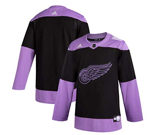 adidas Men's Detroit Red Wings Purple/Black Hockey Fights Cancer Practice Jersey (46/S)