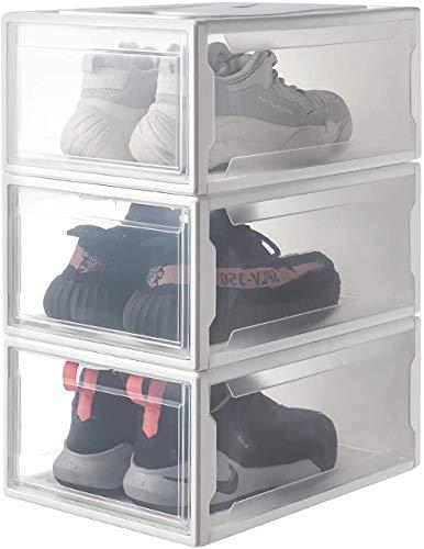 ZZXXJJ Caja deZapatos 3 Piezas Cajas de Almacenamiento de Zapatos apilables OrganizadorPuerta y Tapas Transparentes de plástico Resistente37x26x16cm para Damas Hombres