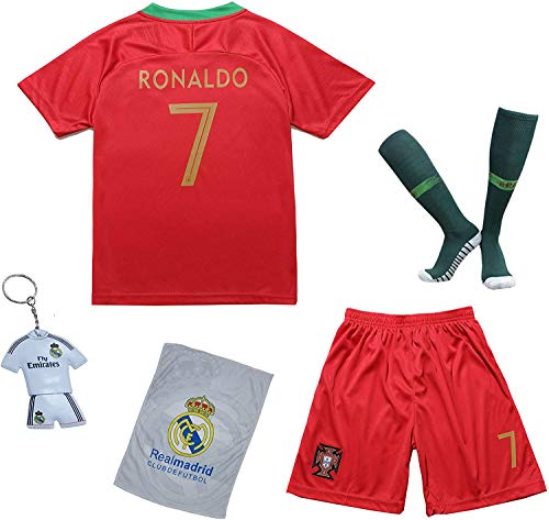 KID BOX Portugal #7 Kids Home Red Soccer Jersey & Shorts Socks Set Youth Sizes (Red, 6-7 Years)