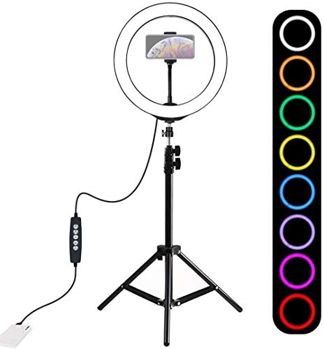 Beauty lamp USB Ring Ligh 1 1m Statiefbevestiging + 10 inch 26cm RGBW LED Ring Vlogging Videolicht Live Broadcast Kits met Cold Shoe Statief Balhoofd & ampère Telefoonklem (Upgrade)